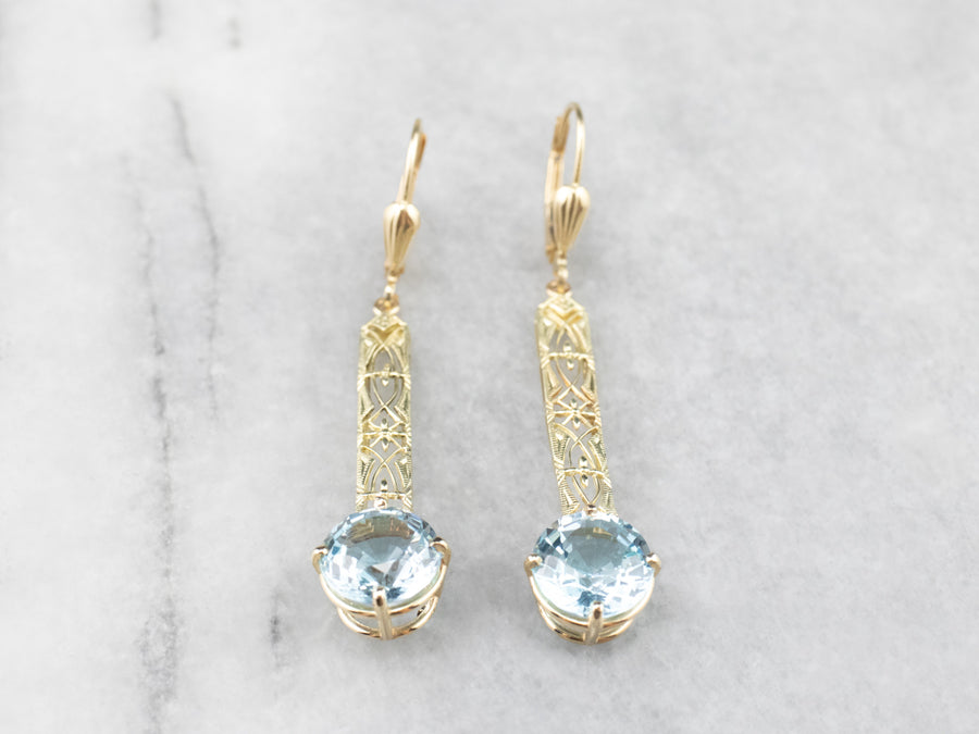 Blue Topaz Gold Filigree Bar Drop Earrings