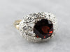 Floral Retro Era Garnet Solitaire Ring