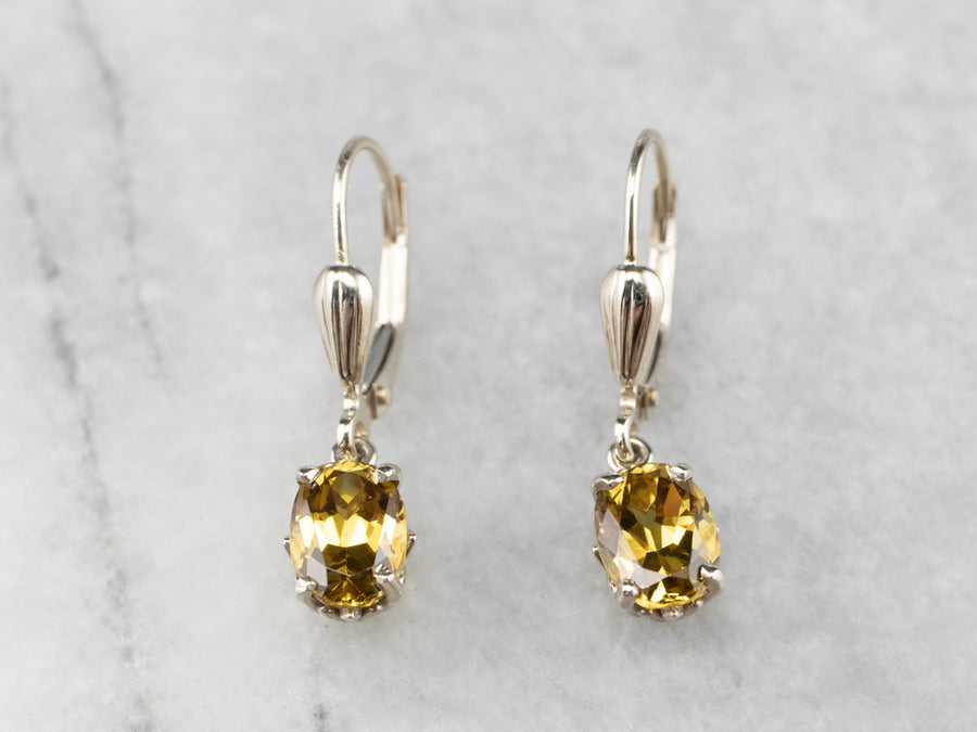 White Gold Mali Garnet Drop Earrings
