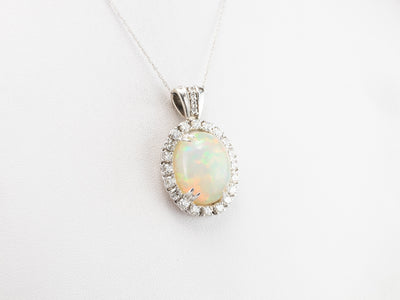 Opal Diamond Halo White Gold Statement Pendant