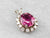 Pink Tourmaline Diamond Halo White Gold Pendant