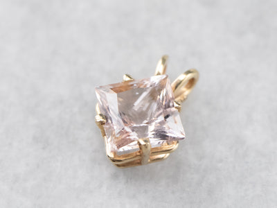 Morganite Gold Solitaire Pendant