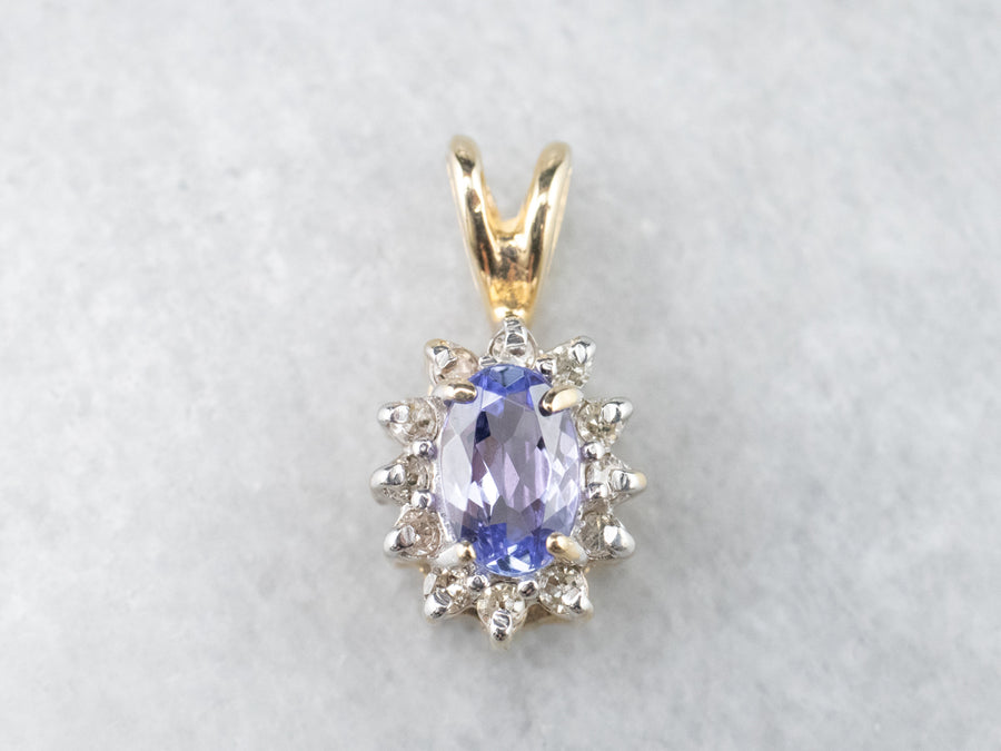 Tanzanite Diamond Halo Gold Pendant