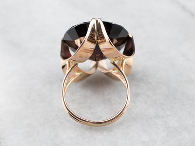 Round Garnet Rose Gold Cocktail Ring