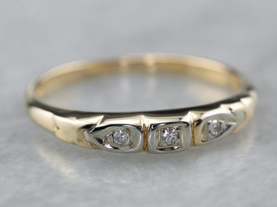 Retro Diamond Two Tone Gold Wedding Band