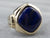 Retro Lapis Gold Men's Statement Ring