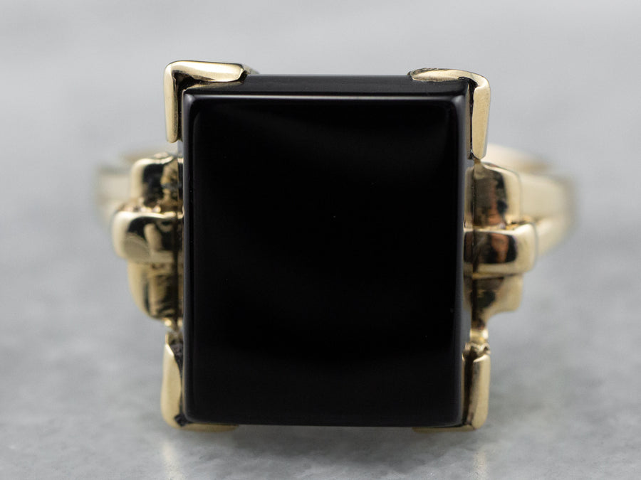 Retro Black Onyx Gold Ring