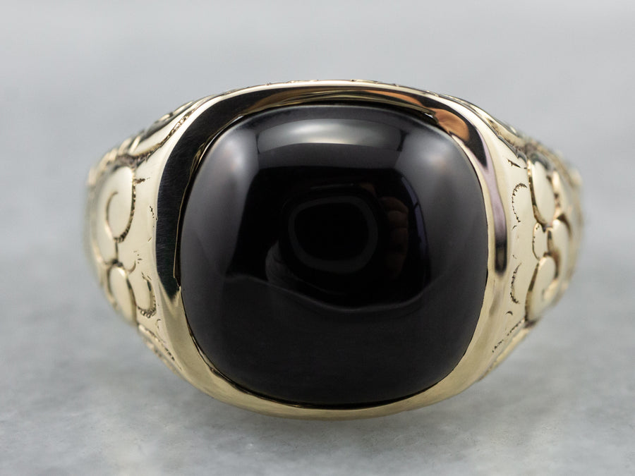 Antique Black Onyx Patterned Gold Statement Ring