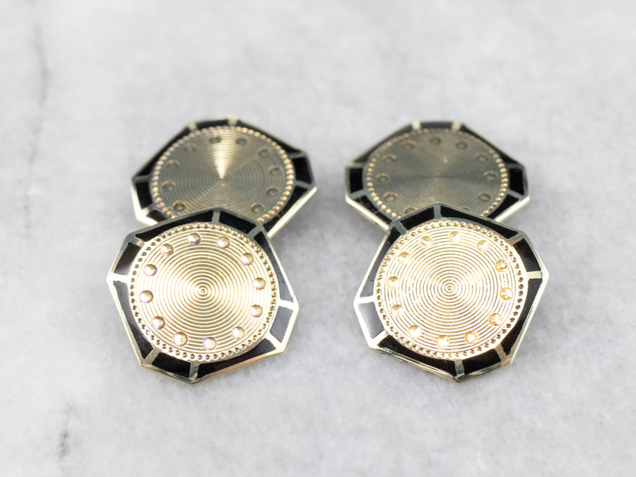 Vintage Black Enamel and Gold Cufflinks