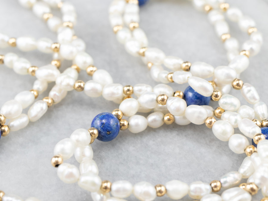 Double Strand Pearl Lapis and Gold Beaded Necklace