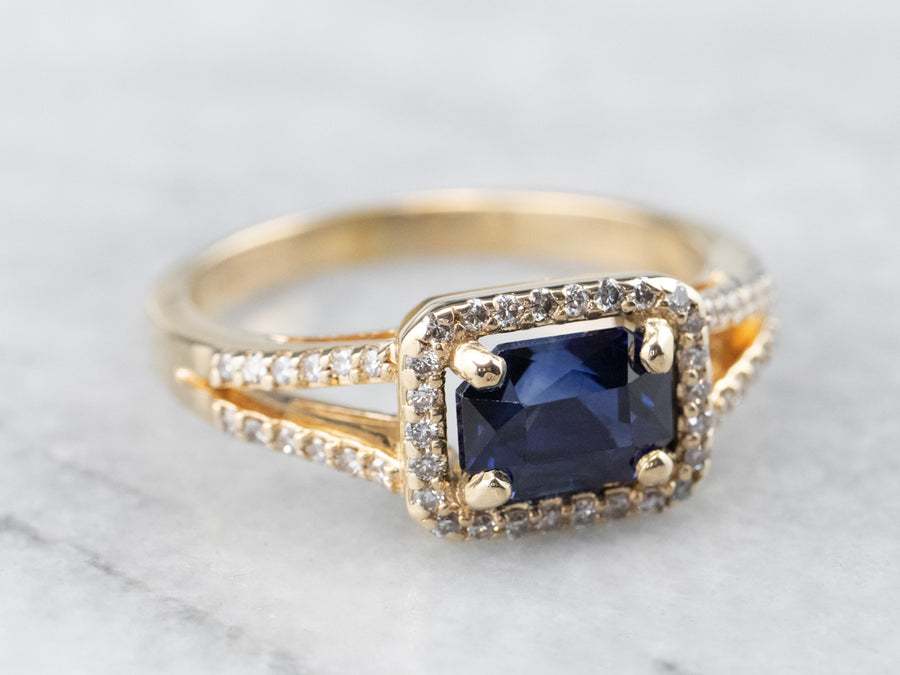 Gold Sapphire and Diamond Halo Ring