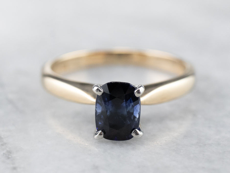 Sapphire Gold and Platinum Engagement Ring