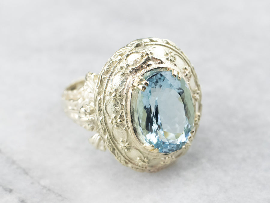 Green Gold Aquamarine Statement Ring