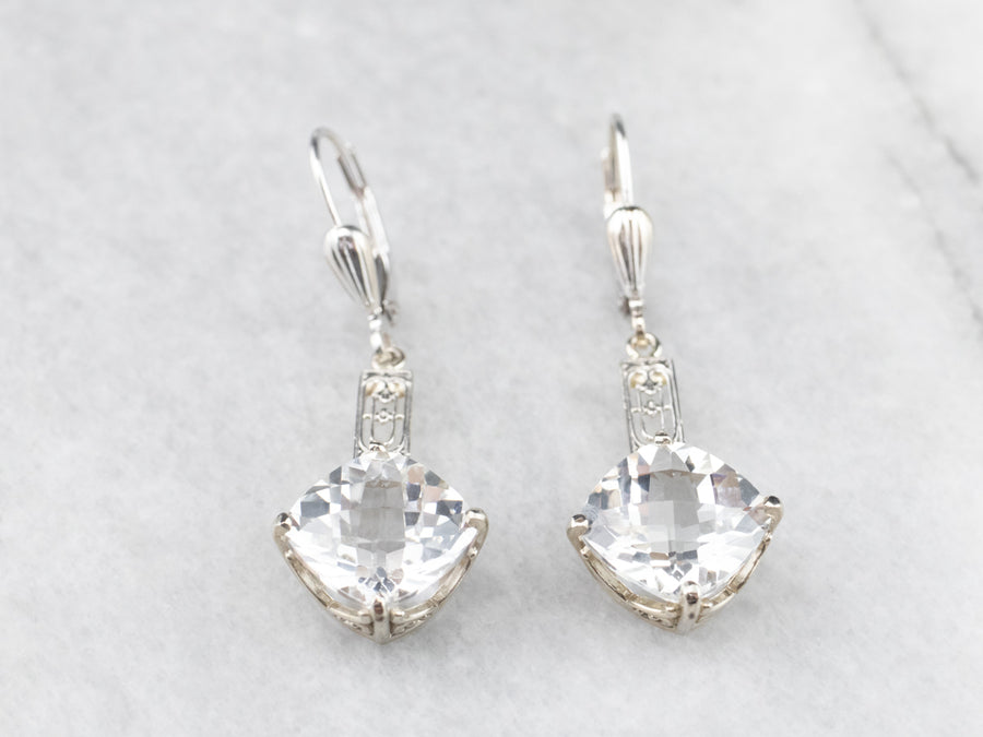 White Topaz Filigree Drop Earrings