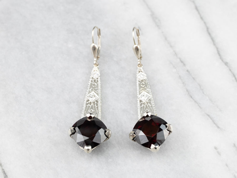 Garnet and Diamond Filigree Drop Earrings