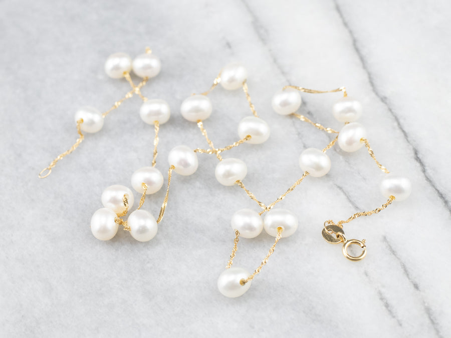 Pearl Gold Station Chain Necklace