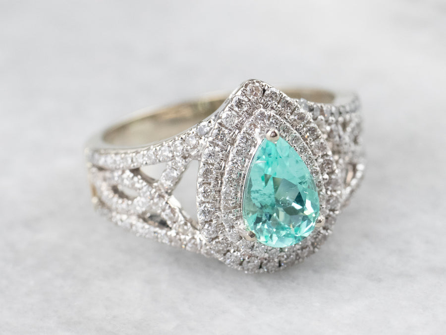 Pear Cut Emerald and Diamond Cocktail Ring