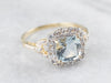 Aquamarine and White Topaz Halo Ring