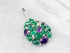 Emerald Amethyst and Diamond Cluster Pendant