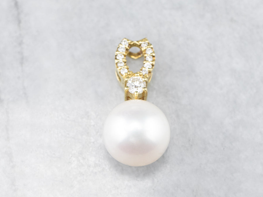 Pearl Diamond 18K Gold Pendant