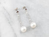 Pearl White Gold Chain Drop Earrings