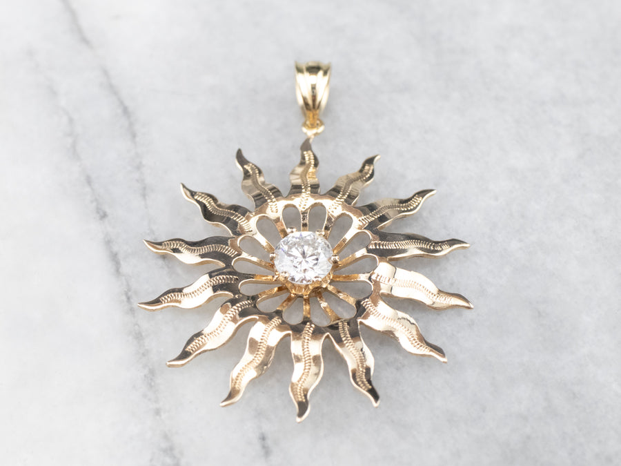 Gold Diamond Solitaire Sun Pendant