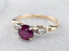 Pink Sapphire and Diamond Two Tone Gold Ring