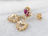 Gold Diamond Heart Halo and Ruby Drop Earrings