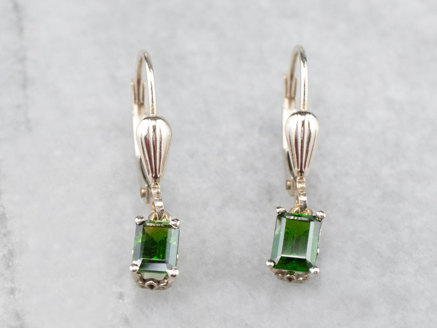Demantoid Garnet White Gold Drop Earrings