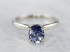 Pale Blue Sapphire White Gold Solitaire Engagement Ring