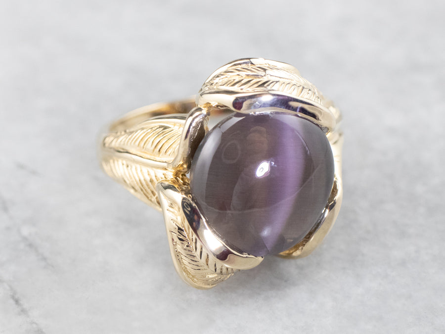 Botanical Cat's Eye Sillimanite Gold Statement Ring