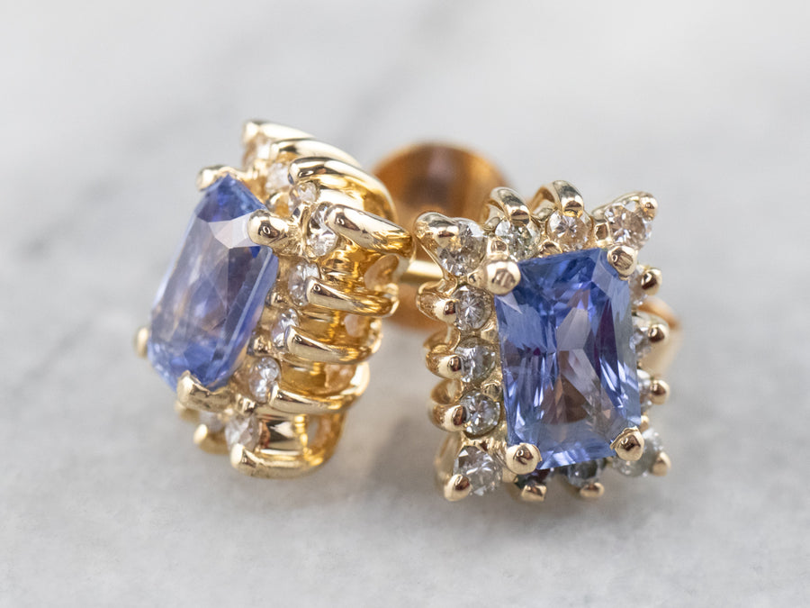 Sapphire Diamond Halo Gold Stud Earrings