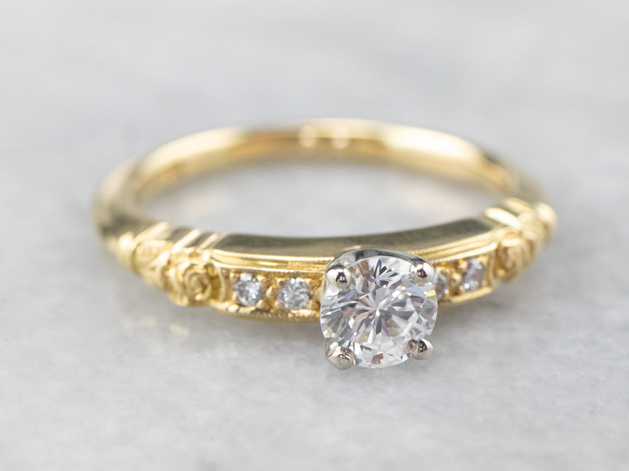 Diamond Floral 18K Gold Engagement Ring