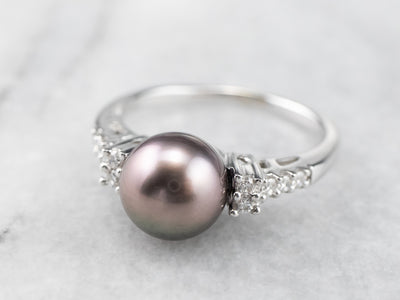 Black Pearl and Diamond Ring