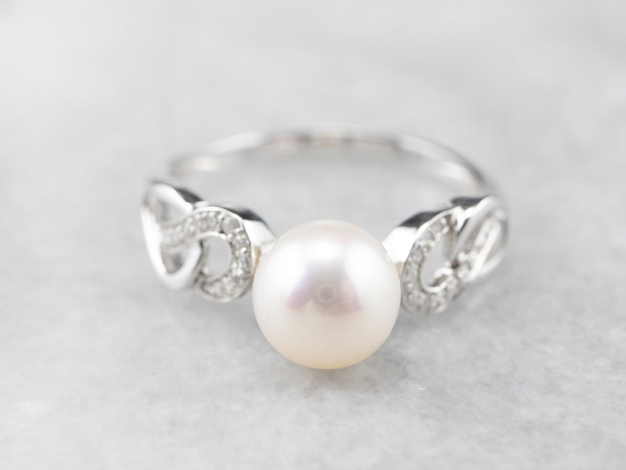 Modern White Pearl and Diamond Ring