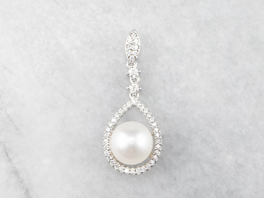 Pearl and Diamond Halo Pendant