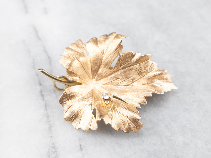 Gold Diamond Grape Leaf Brooch or Pendant