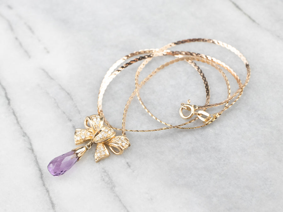 Gold Bow Amethyst and Diamond Necklace