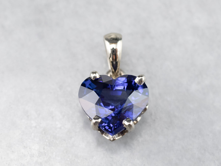 Heart Shaped Sapphire White Gold Pendant