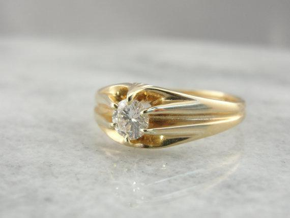 Antique Belcher Ring Victorian Floating Diamond Ring