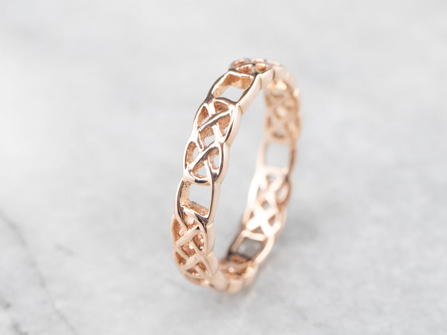 Rose Gold Celtic Pattern Band