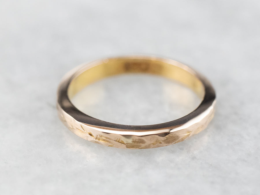 Antique Textured Gold Baptism Band