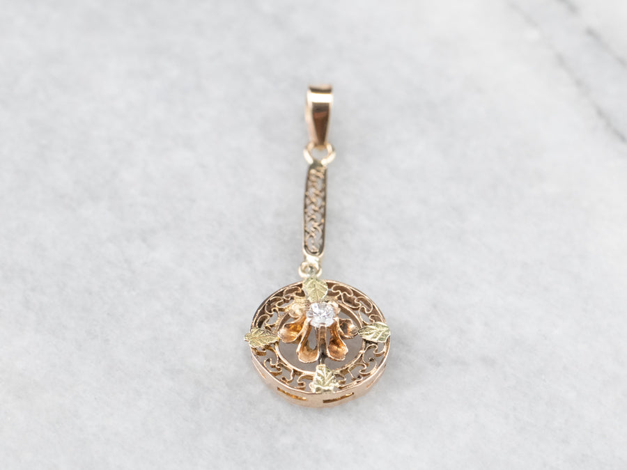 Antique Diamond Floral Gold Filigree Pendant
