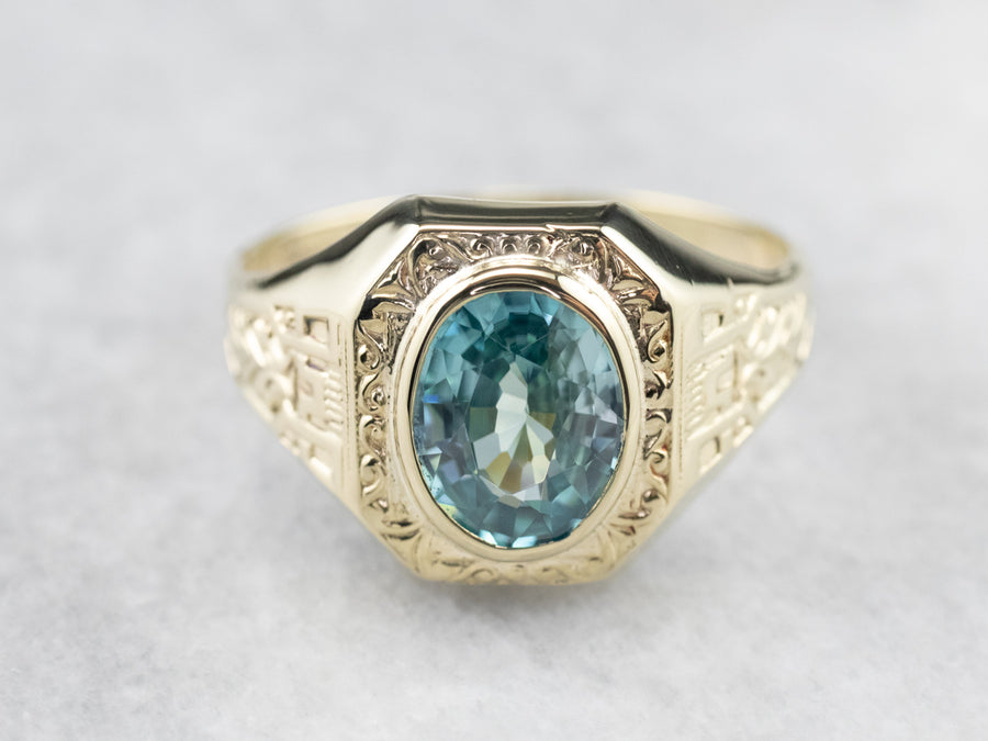Ostby & Barton Blue Zircon Patterned Gold Statement Ring