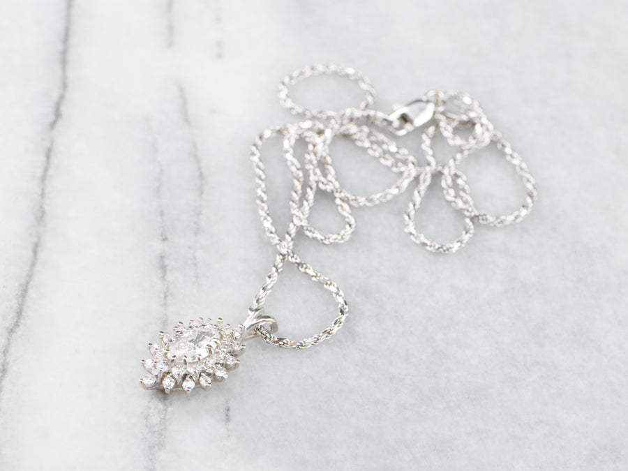 Diamond Cluster Pendant White Gold Necklace