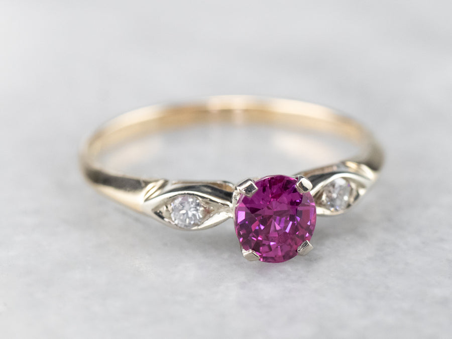 Exceptional Pink Sapphire Diamond Engagement Ring