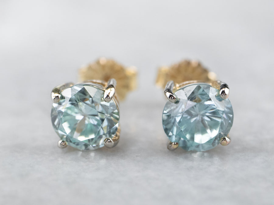 Classic Blue Zircon Stud Earrings