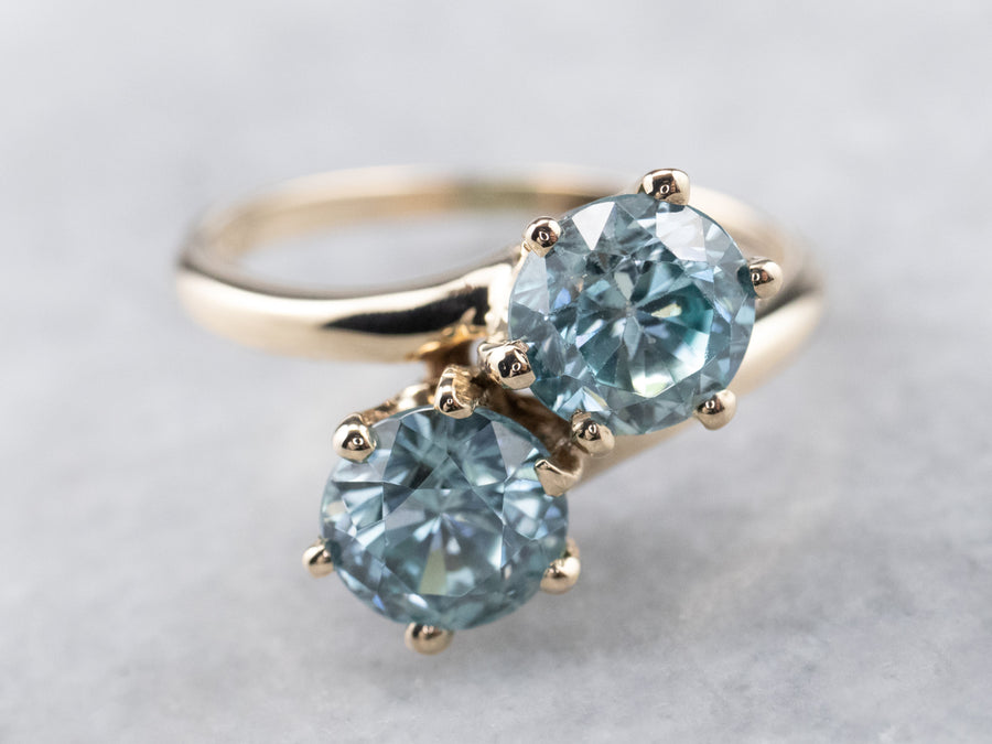 Vintage Blue Zircon Bypass Ring