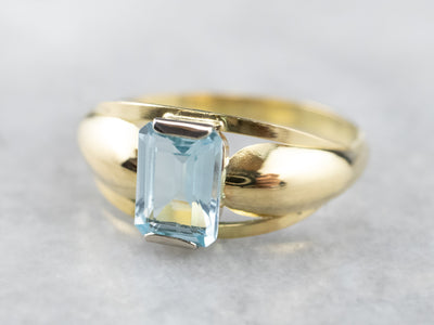 Vintage Blue Topaz Gold Solitaire Ring