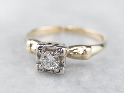 Retro Diamond Gold Engagement Ring
